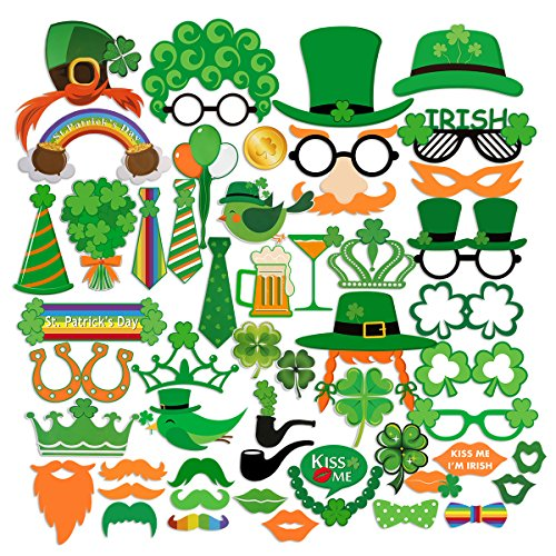 [PBPBOX St Patrick's Photo Booth Props Creative Funny Disguise Props for Parties or Group Photos - 52 Pieces] (Leprechaun Photo Prop)