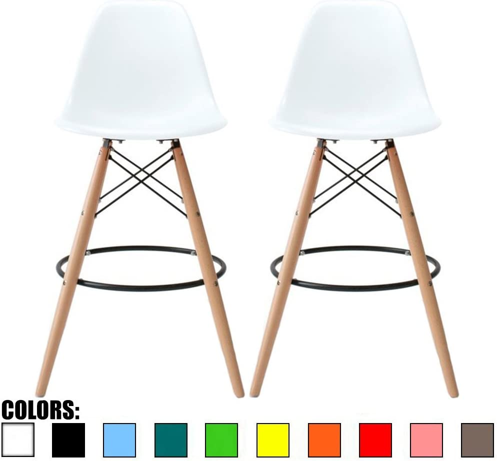 2xhome – Set of Two 2 – White – 28 Seat Height Stool Style DSW Molded Plastic Bar Stool Modern Barstool Counter Stools with Backs and armless Natural Legs Wood Eiffel Legs