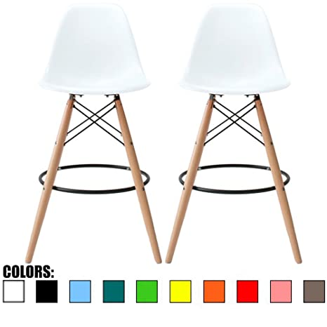 Fantastic 2Xhome Set Of Two 2 White 28 Seat Height Stool Style Dsw Molded Plastic Bar Stool Modern Barstool Counter Stools With Backs And Armless Short Links Chair Design For Home Short Linksinfo