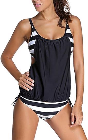 Tankinis Mujer Baño, Mujer Tallas Grandes Dos Pieza Ropa de baño Nadando Disfraz Strappy Traje de baño Ropa de Playa Baños Traje