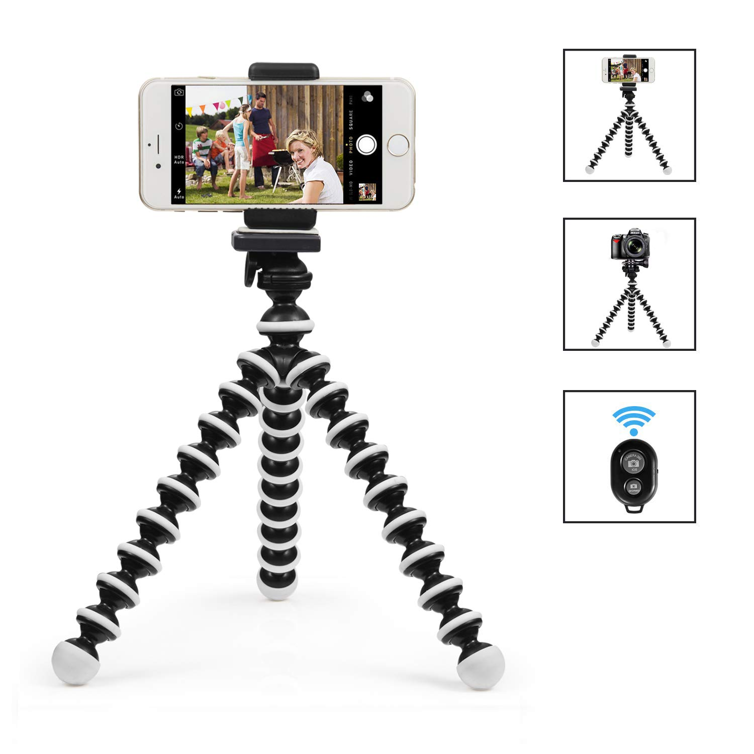Sweego Phone Tripod, Flexible Cell Phone Holder with Wireless Bluetooth Remote, Adjustable Octopus Style Camera Stand Mount, Compatible with iPhone & Android Phones, Sport Camera, GoPro Devices