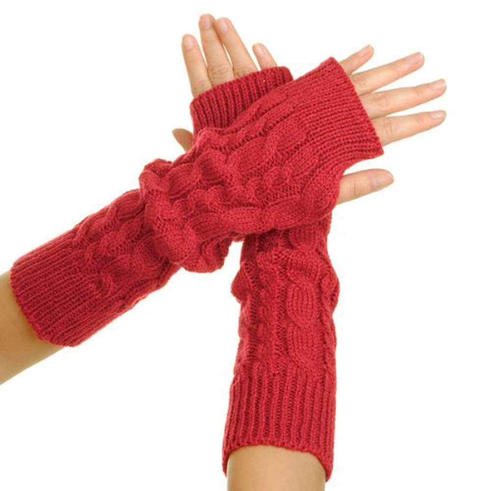 Pair Lady Braided Knitted Crochet Long Soft Arm Fingerless Winter Warmer Gloves Red Nicky' s Gift Co. LTD