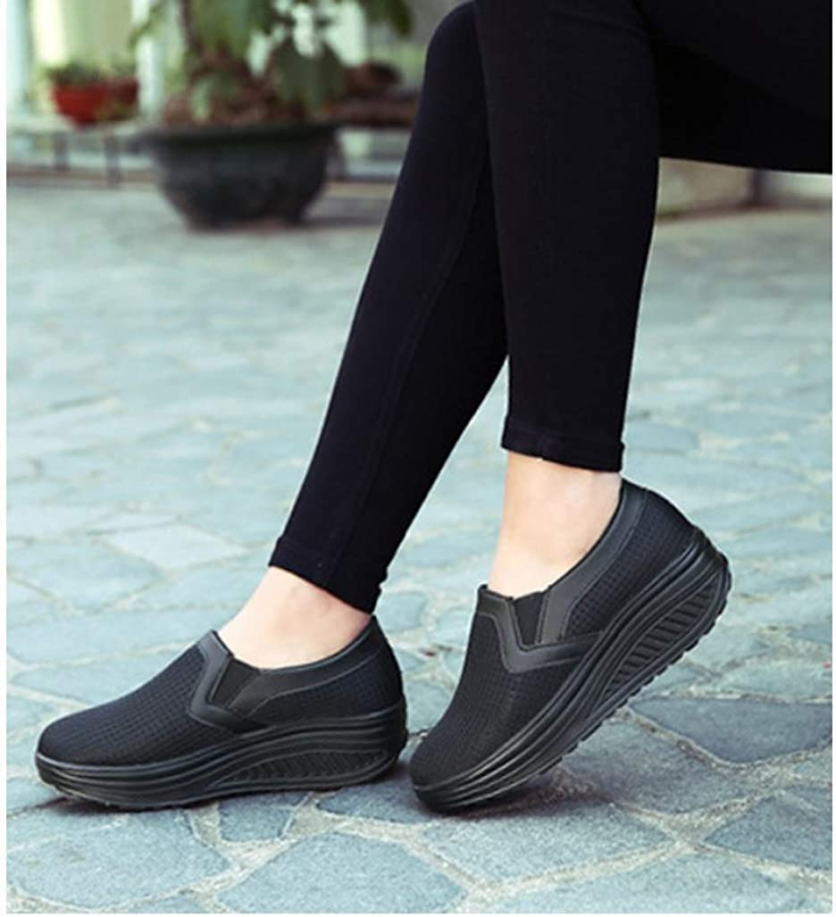 XMOMO Women Slip on Round Toe Light Weight Breathable Walking Shoes Wedges Sneakers Air Mesh Rocking Shoes