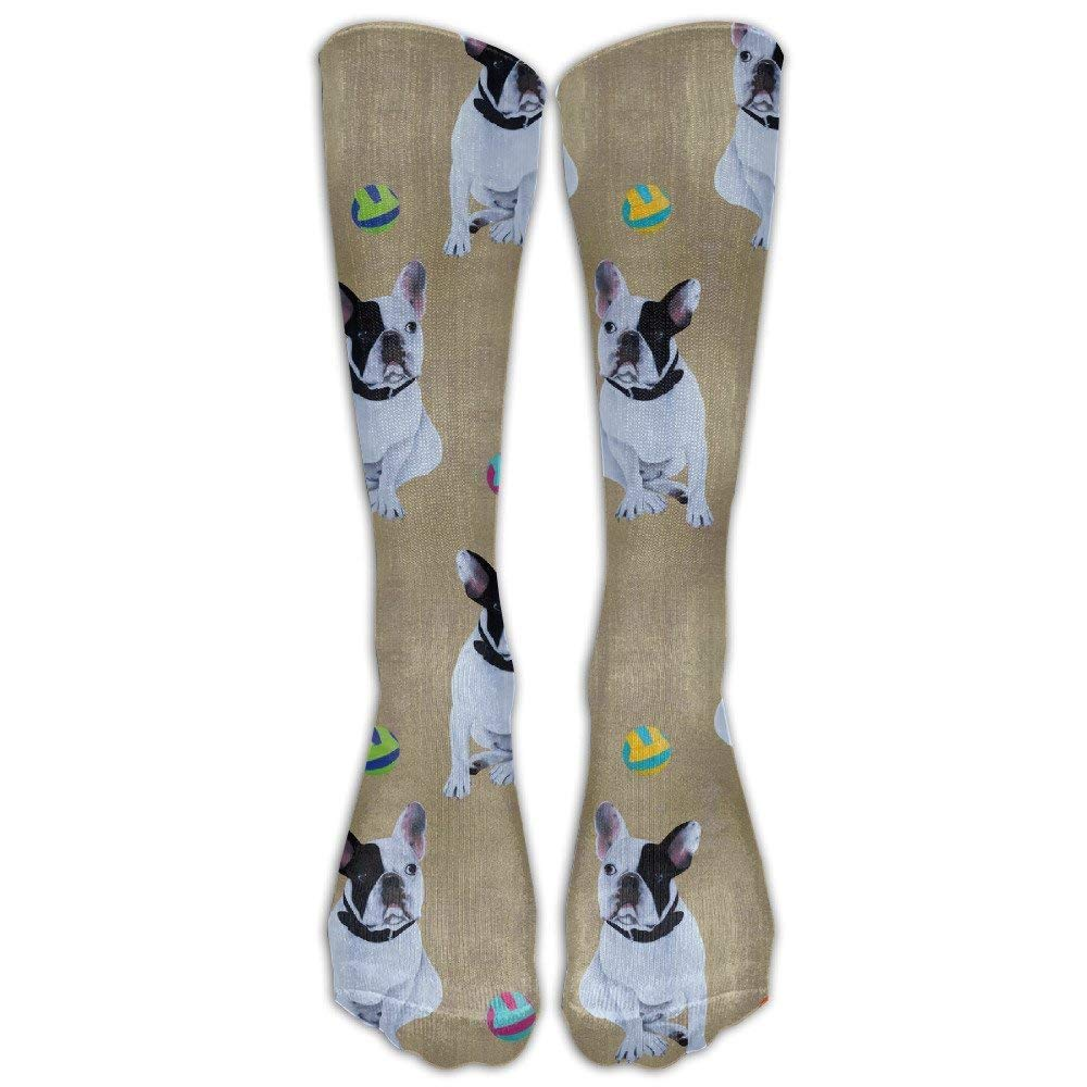 Gold Bulldog-French Ball Unisex Novelty Knee High Socks Athletic Tube Stockings One Size Voxpkrs