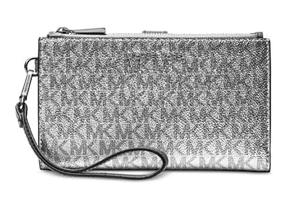 Michael Kors Jet Set Travel double Zip Wristlet (Silver/Black)