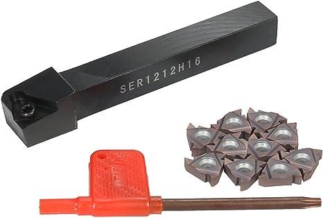 1pc SER1212H16 threading holder+10pc 16ER AG60 threading inserts carbide inserts