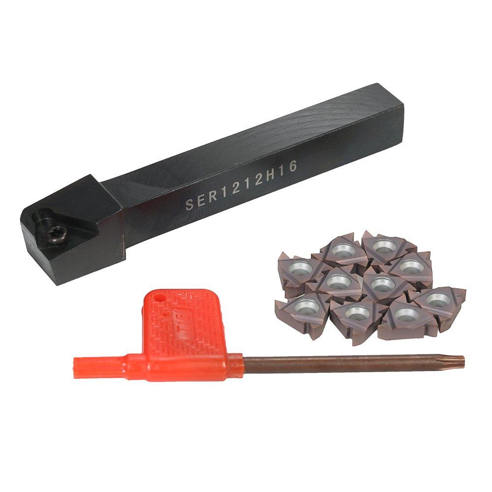 KKMoon 10pcs/box VP15TF 16ER AG60 Carbide Inserts + SER1212H16 Insert Holder + T15 Wrench Lathe Threading Turning Tool Set for CNC Machine