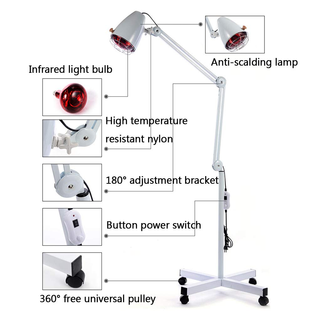 Infrared Heating Floor Lamp,Adjustable Angle with Pulley Base Pain Relief Treatment for Muscle Pain