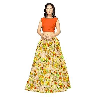 4530efadf1 Desi Culture Women's Floral Print Semi Stitched Lehenga Choli (Yellow)