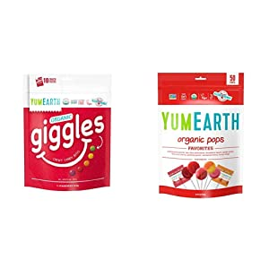 YumEarth Giggles Organic Chewy Candy, Fruit Flavored Snack Packs, Multi, 5 Ounce (Pack of 10) & Organic Lollipops, Assorted Flavors, 50 Count (Packaging May Vary)