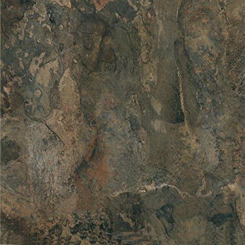 "Pack of 20 Elegant Home 12"" x 12"" Self Adhesive High Gloss (No Wax) Finish 1.2mm Thick Vinyl Tiles - Dark Slate (Stone Vinyl Flooring)"