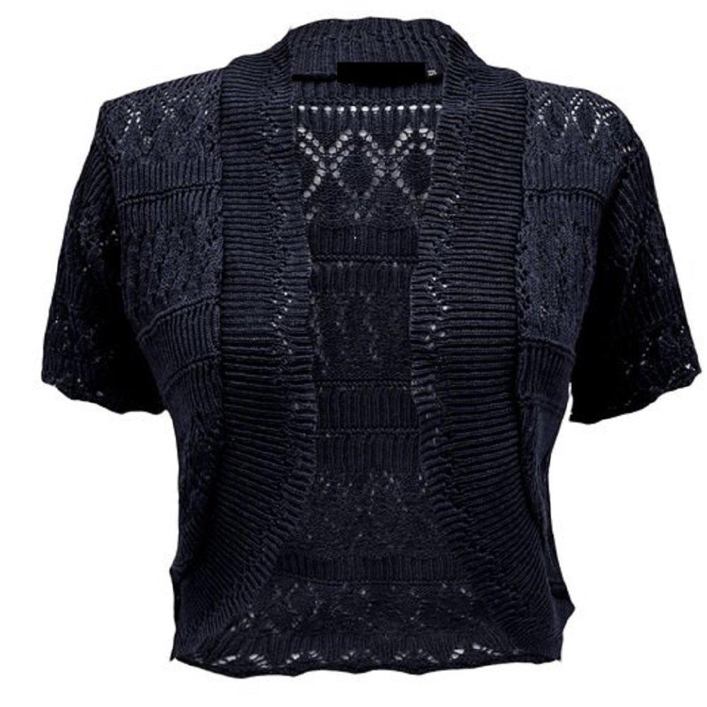 Momo Fashions - Women's Plus Size Crochet Knitted Short Sleeve Cardigan