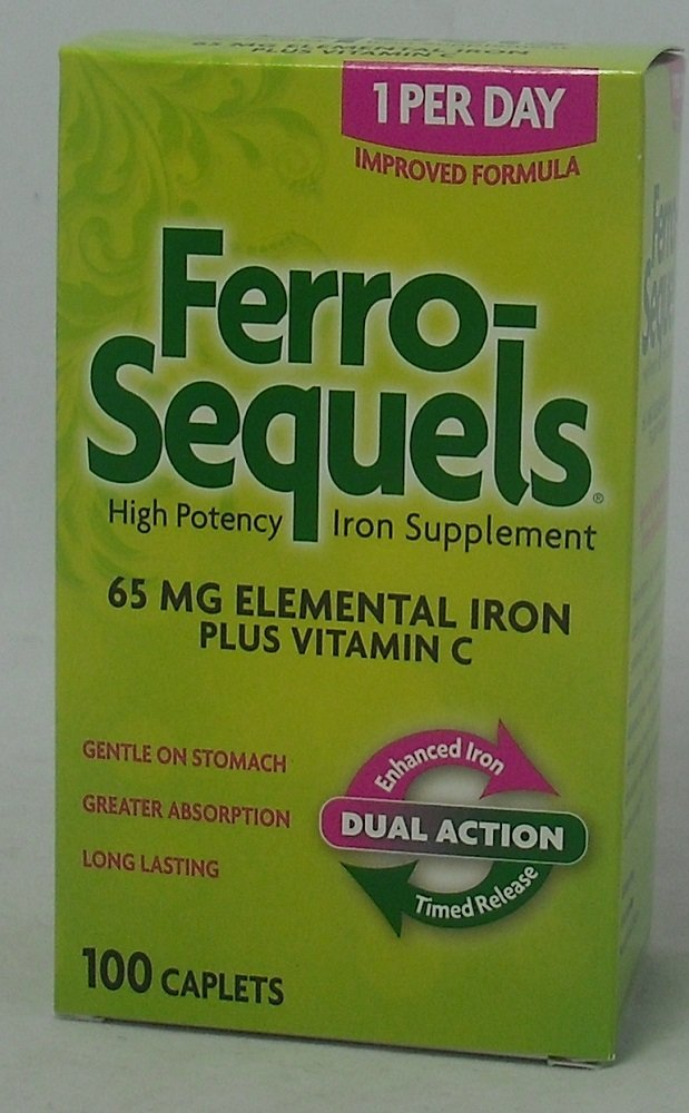 Ferro-Sequels High Potency Iron Supplement caplets, 100-Count (6 Pack)