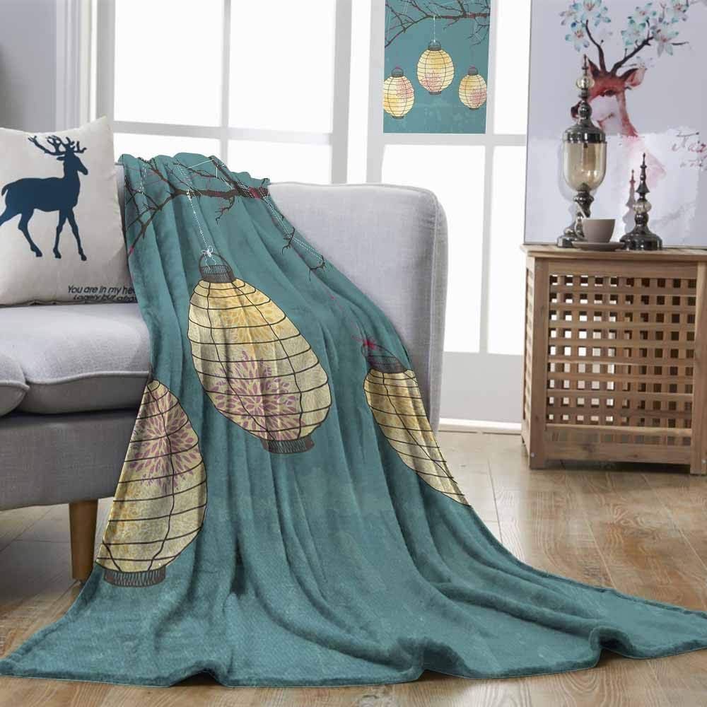 DILITECK Lantern Breathable Blanket Three Paper Lanterns Hanging on Branches Lighting Fixture Source Lamp Boho Easy Care Teal Light Yellow W93 xL71
