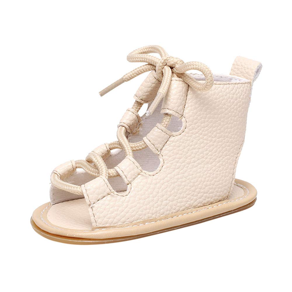 Sumen Sandals for Toddler Girls Boys Bandage Cross-Tied Sole Crib Baby Walking Shoes