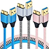 USB 3.0 Micro Cable, Besgoods 3-Pack Durable Braided 6ft Micro USB 3.0 Cable USB 3.0 Type A Male to Micro B Cord for External Hard Drive, Samsung Galaxy S5, Note 3