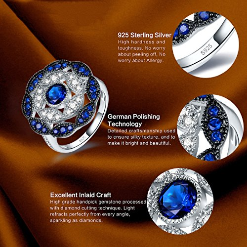 Jrose 925 Sterling Silver Vintage Created Blue Sapphire Cluster Cocktail Ring for Women by jrose (Image #3)