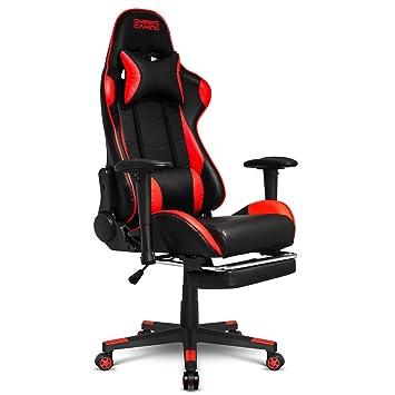 Empire Gaming - Sillón Racing 800 serie Negra/Roja - Reposapiés y forma de asiento deportivoacolchado ultra confortable - Reposabrazos 2D ajustables ...