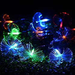 Colorful Fibre Optic Fairy Lights Battery Powered -10 LED String Lights for Home Bedroom Birthday Party Indoor Yard Warm White,7.8 Ft/2.4m