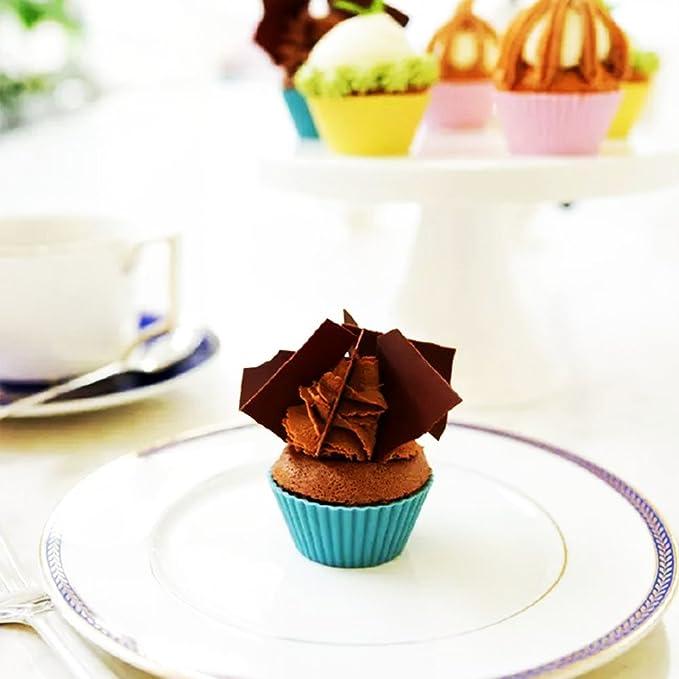 Cupcakes (30 unidades, reutilizable de silicona para cupcakes, magdalenas antiadherente Cake Moldes, 5 formas 6 color, para hacer gelatina, aperitivos, ...