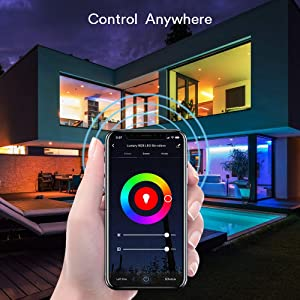 Lumary Smart WiFi LED Strip Lights 16.4FT IP44 Waterproof RGB 5050 LED Light Kit Works with Alexa Google Home IFTTT App-Controlled Music Sync 16 Million Colors No hub Required (RGB 16.4ft) (Color: Rgb (Red, Green, Blue), Tamaño: RGB 16.4ft)