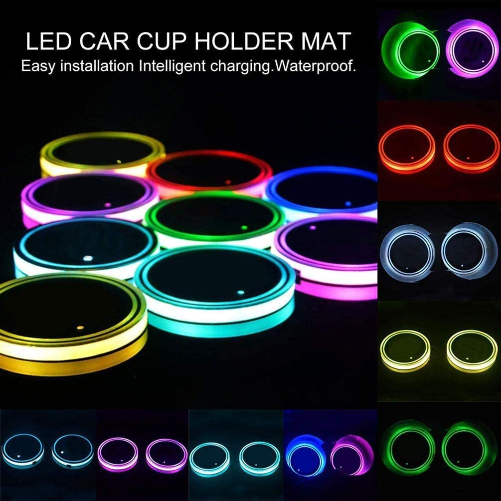 SUMUPUT Universal LED Car Cup Holder Lights Pad Colorful RGB Drink Coaster Accessories Interior Decoration Atmosphere 7 Colors Luminescent Cup Pad USB Charging Cup Mat for Drink Coaster
