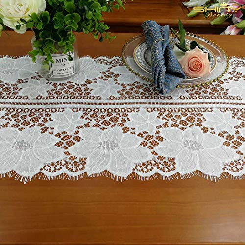 ShinyBeauty Lace-Table-Runner 15x108-Inch 2 Pack White Designer Table Runner Table Runner Tea Lace for Table Runner Table Wedding Decor Vintage Embroidered Lace Princess Table Runner (Table Runner Designer)