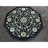 """15"""" Black Coffee Table Side Table End Table Patio Garden Table Sofa Table Octagon Shape Stones Inlaid Marble Table Top"""