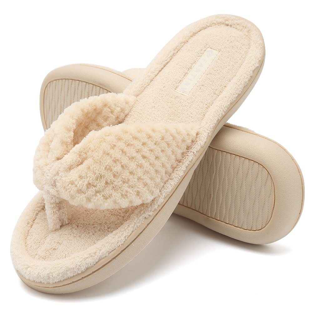 CIOR Fantiny Women's Cozy Memory Foam Spa Thong Flip Flops House Indoor Slippers Plush Gridding Velvet Lining Clog Style-U1MTW017-beige-36.37