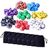 Zealor 8 x 7 (56 Pieces) Polyhedral Dice 8 Color Dungeons and Dragons DND MTG RPG D20 D12 D10 D8 D6 D4 Game Dice Set