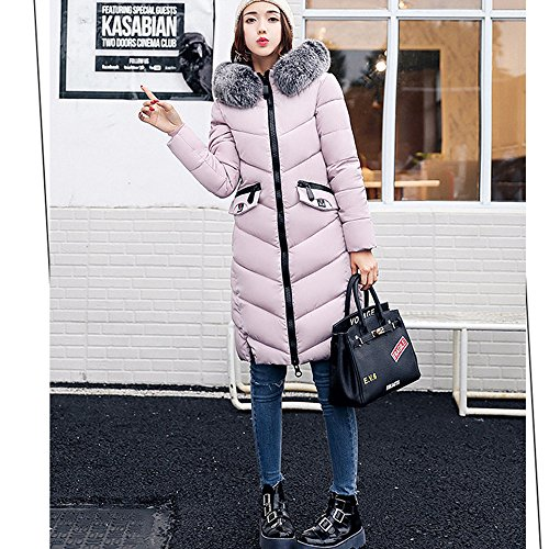 Long Winter Jacket Fur BAINASIQI Coat Quilted Collar For Hooded Parka Pink Women's Cotton Down Warm xOwwnUq8p