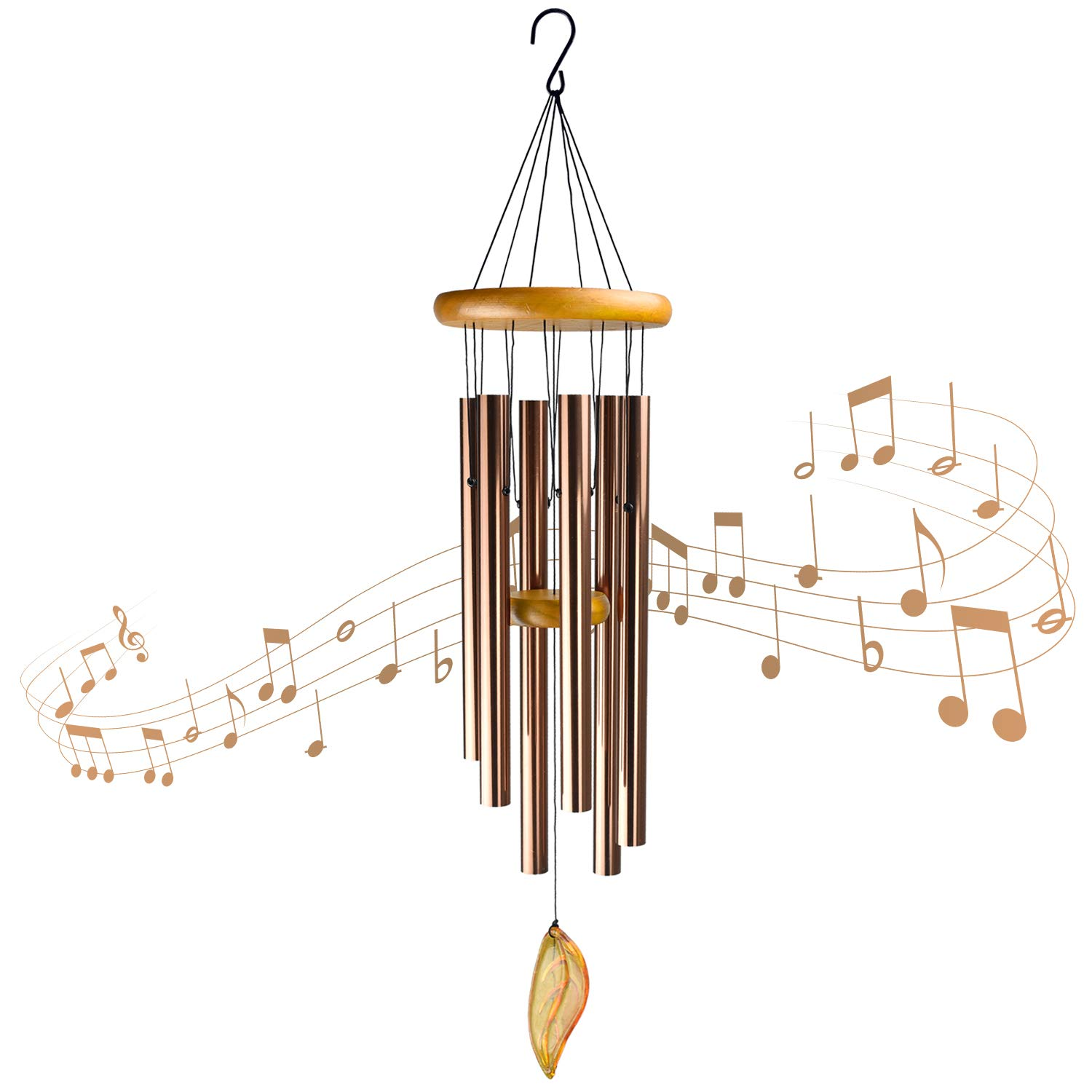 Mozing Large Wind Chimes Outdoor Deep Tone,Wooden Windchime Amazing Grace with 6 Metal Tubes for Memorial Sympathy Gifts for Patio Garden House (36inch)