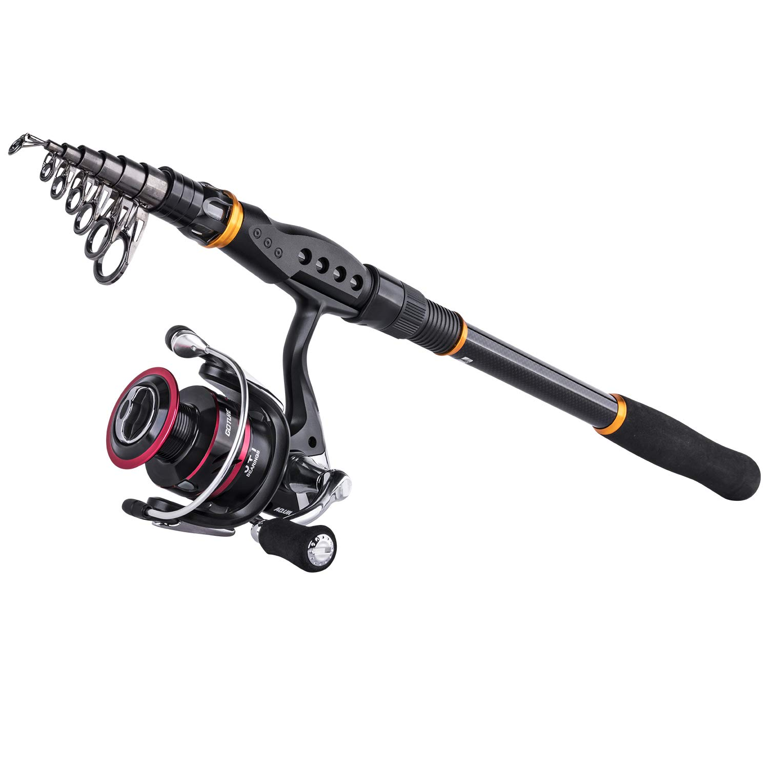 Goture Telescopic Fishing Rod,Rod Reel Red Black 5.9-11.9ft