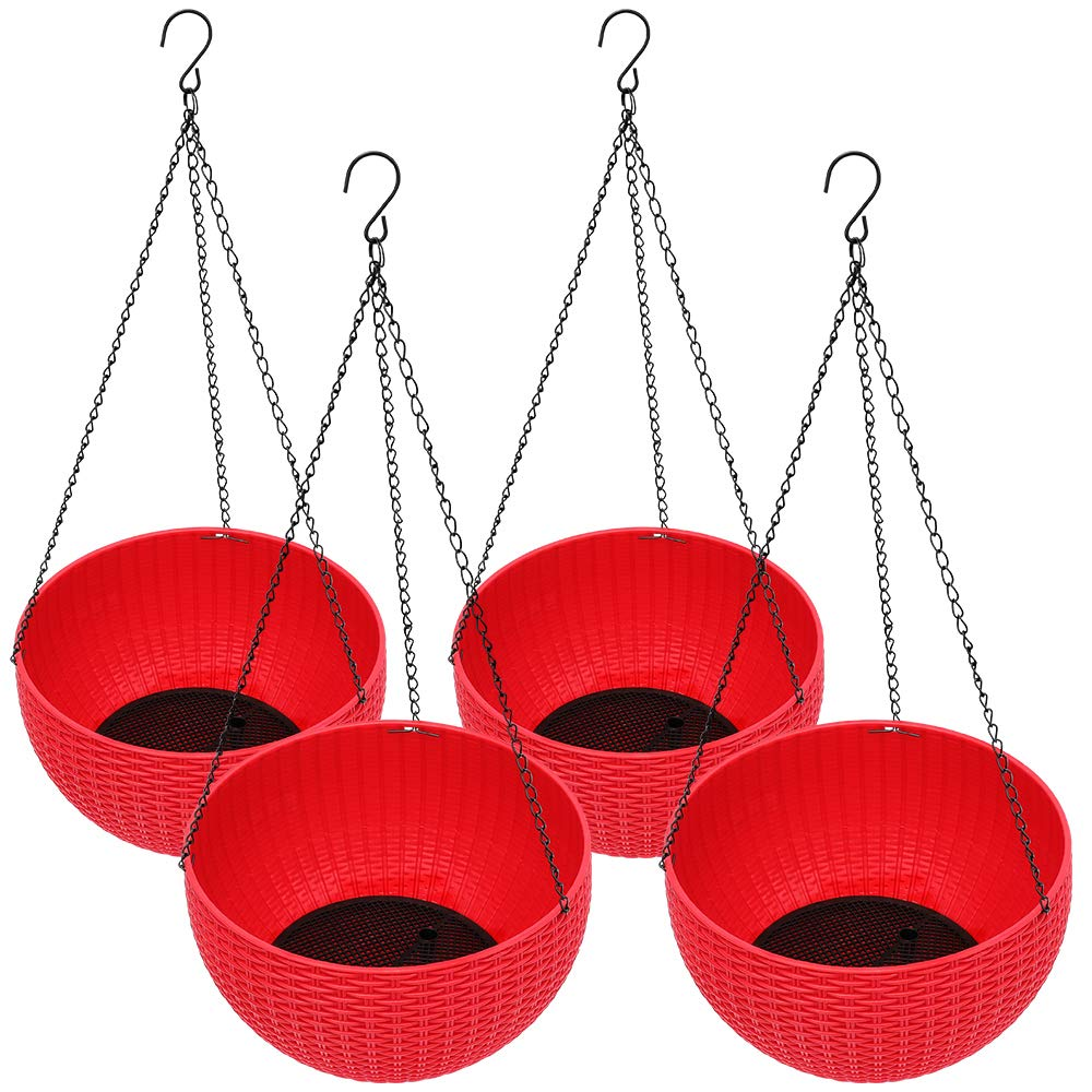 Homes Garden Plastic Rattan Hanging Planter 10.5 in. Dia Red (4-Pack) Flower Plant Hanging Basket for Home Office Porch Balcony Wall Indoor Outdoor Decoration Garden Gift #G722A00