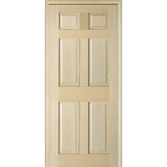 National Door Company Z022569L Unfinished Poplar Wood 6-Panel 30u0026quot;x80u0026quot; Left Hand  sc 1 st  Amazon.com & National Door Company Z022569L Unfinished Poplar Wood 6-Panel 30