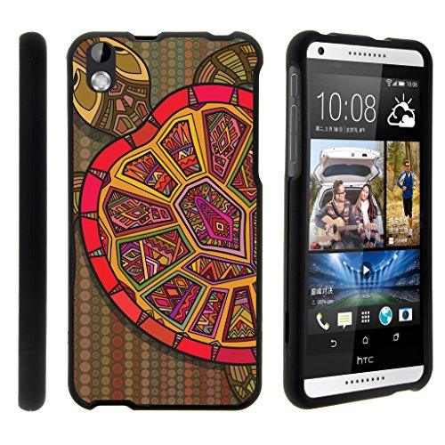 Compatible with HTC Desire 816 Case | Desire 8 Case [Slim Duo] Hard Shell Snap On Case Compact Fitted Cover Matte Finish on Black Sea Ocean by TurtleArmor - Tribal Turtle Shell (Virgin Mobile 816 Cases)