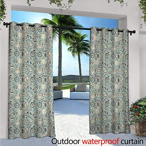 Doodle Exterior/Outside Curtains W84 x L108 Summer Good Mood Illustration with Flowers Bicycle Backpack and Food for Patio Light Block Heat Out Water Proof Drape Pale Almond Green Cream