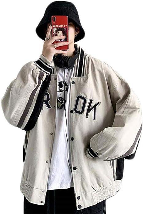(スーイ)メンズ野球服 ヒップホップジャケット ツーリングコート 英字 光沢有り MA1ジャケット オシャレ ミリタリージャケット 防風 無地 ストリートゆったり モートーバイク クール
