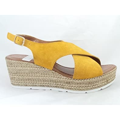 77b90504f68a MARCO TOZZI 28362 Yellow Suede Open-Toe Wedge Sandal  Amazon.co.uk  Shoes    Bags