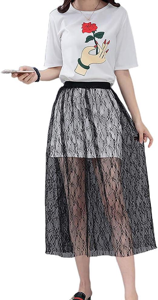 KINTRADE Tulle Cintura Alta Sheer Mesh Falda Larga Crochet Vestido ...