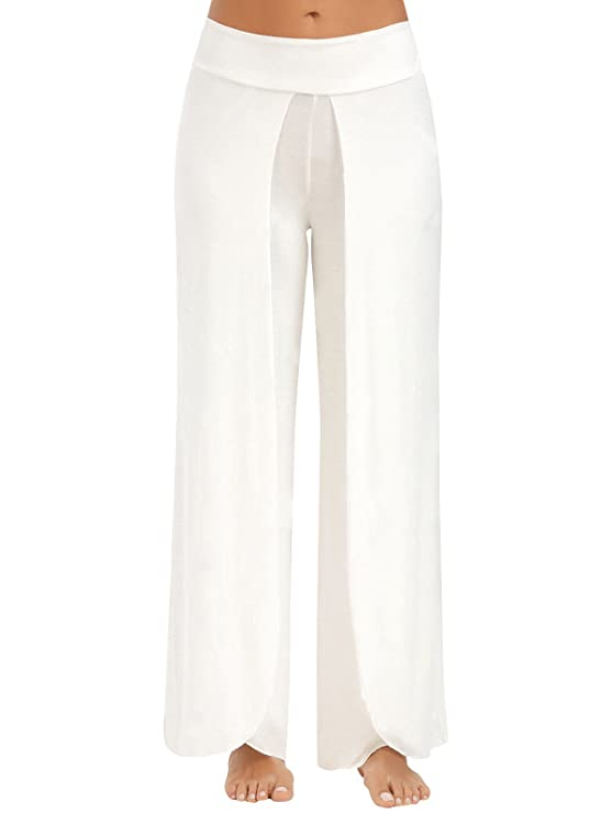 JireH Womens High Waist Split Palazzo Pants Layered Elastic ...