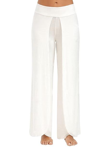48755f3700c6 Pantaloni Palazzo Donna Eleganti Primavera Larghi Taglie Forti Grazioso Moda  Yoga Sportiva Puro Colore Spacco Pantaloni
