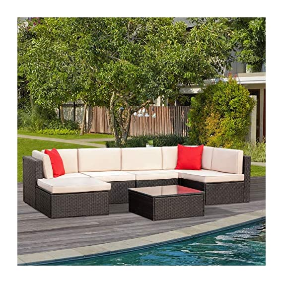 Tuoze 7 Pieces Patio Furniture Sectional Set Outdoor All-Weather PE Rattan Wicker Lawn Conversation Sets Cushioned Garden Sofa Set with Glass Coffee Table (Brown) - Solid & Durable: Outdoor patio furniture sets made of high quality PE rattan wicker which has the advantages of high tensile strength, water resistance, long service life and so on. Solid mechanical structure frames improve stability, which is strong enough to withstand all-weather. Comfortable & Convenient: The thicker sponge cushions and backrests fill with high-density foam, which provide extraordinary comfort while relaxing in your leisure time. The cushion covers are made of superior fabric, which is durable and washable. Special Design: The removable tempered glass adsorbs four suckers to enhance bearing capacity which is easy to clean, and provides much convenience. Foot screws keep the sofas more stable, and which have a super wear resistance. - patio-furniture, patio, conversation-sets - 61crEsyql%2BL. SS570  -