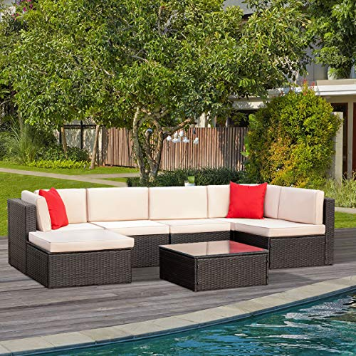 Tuoze 7 Pieces Patio Furniture Sectional Set Outdoor All ...