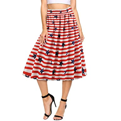 c7c47f47aed2d9 Women Holiday Skirt American Flag Stripe Printed Loose Independence Day  Halloween Dress at Amazon Women's Clothing store: