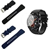 Compatible with Huawei Watch GT/Watch GT2 Silicone Bands and Screen Protectors, SourceTon Silicone Replacement Wristbands (Bl