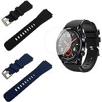 Compatible con las bandas de silicona y los protectores de pantalla de Huawei Watch GT, las muñequeras de reemplazo de silicona SourceTon (negro y azul) con hebilla metálica y películas de pantalla para el reloj Huawei Watch GT