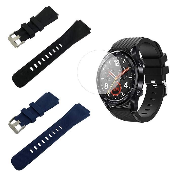 SourceTon - Correa de Silicona para Huawei Watch GT, Incluye Protector de Pantalla y Hebilla de Metal, Color Negro y Azul