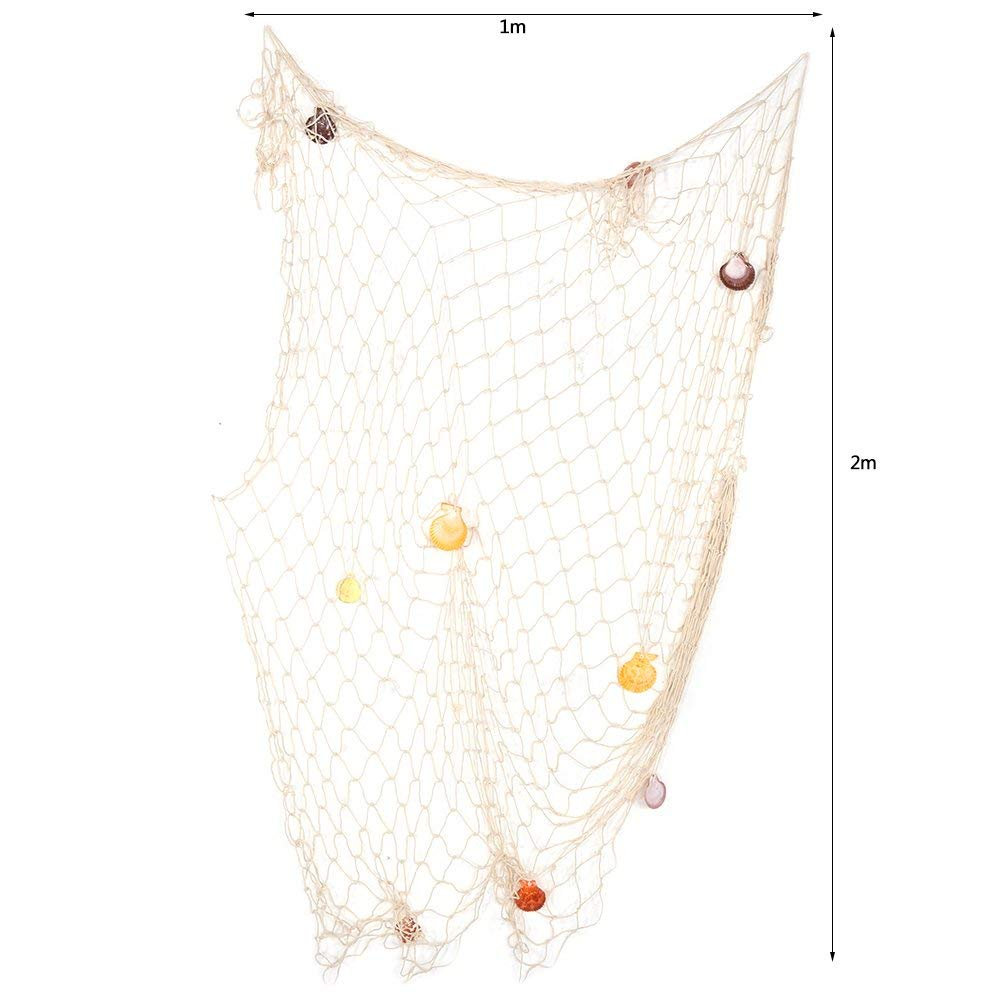 Asixx Filet de P/êche D/écoratif Filet D/écoration Murale /à Suspendre en Coton avec Coquilles 1 * 2M-Beige avec Coquille