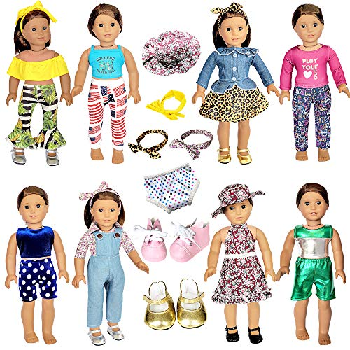 20 Pcs American Doll Clothes and Accessories fit American 18 inch Girl Dolls - Including 8 Complete Set Toys Doll Outfits and 2 Pairs Shoes, Doll Accessories with Cap, Underwear and Hair Clip